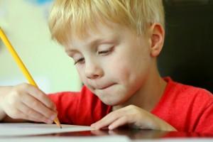 kindergartener doing math