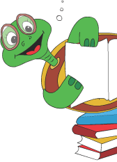 Turtle Diary Turtle sitting on some books