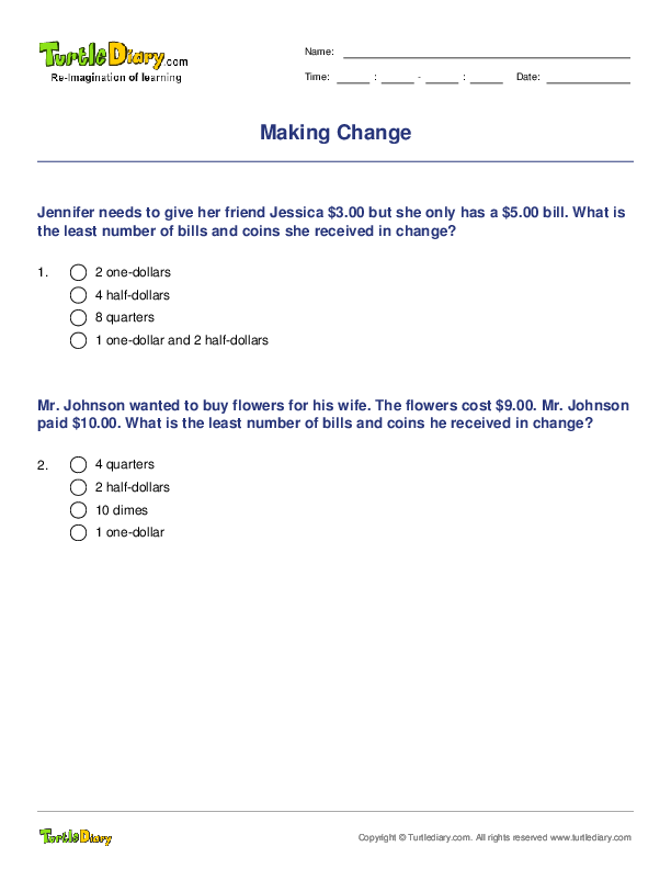 Making Change Worksheet - Turtle Diary