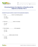 Choosing between the Adjective of Quantity and the Adjective of Number Part 3 - adjectives - Fifth Grade
