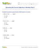 Choosing the Correct Adjective of Number Part 2 - adjectives - Fourth Grade