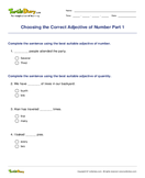 Choosing the Correct Adjective of Number Part 1 - adjectives - Third Grade