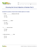 Choosing the Correct Adjective of Number Part 3 - adjectives - Fifth Grade