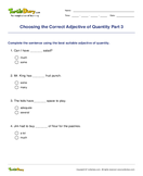 Choosing the Correct Adjective of Quantity Part 3 - adjectives - Fifth Grade