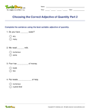 Choosing the Correct Adjective of Quantity Part 2 - adjectives - Fourth Grade