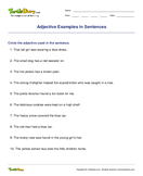 Adjective Examples in Sentences - adjectives - Fifth Grade