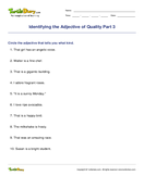 Identifying the Adjective of Quality Part 3 - adjectives - Fifth Grade