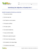 Identifying the Adjective of Quality Part 1 - adjectives - Third Grade