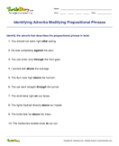 Identifying Adverbs Modifying Prepositional Phrases - adverbs - Fourth Grade