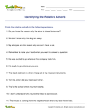 Identifying the Relative Adverb - adverbs - Fourth Grade