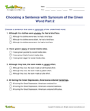 Choosing a Sentence with Synonym of the Given Word Part 2 - antonyms-synonyms - Fourth Grade