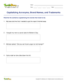 Capitalizing Acronyms, Brand Names, and Trademarks - capitalization - Third Grade
