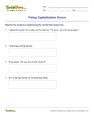 Fixing Capitalization Errors - capitalization - Third Grade
