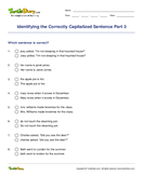 Identifying the Correctly Capitalized Sentence Part 3 - capitalization - Third Grade
