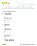 Identifying the Correctly Written Sentence Part 2 - sentences - Third Grade