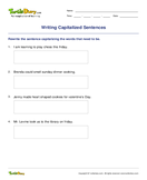 Writing Capitalized Sentences - capitalization - Third Grade
