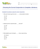 Choosing the Correct Conjunction to Complete a Sentence - conjunction - Second Grade