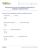Choosing the Correct Coordinating Conjunction to Complete a Sentence Part 2 - conjunction - Third Grade
