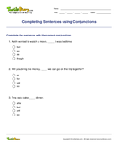 Completing Sentences using Conjunctions - conjunction - First Grade