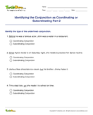 Identifying the Conjunction as Coordinating or Subordinating Part 2 - conjunction - Third Grade