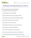 Identifying the Coordinating Conjunction in a Sentence - conjunction - Second Grade
