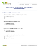 Identifying the Conjunction as Coordinating or Subordinating Part 1 - conjunction - Second Grade