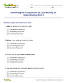 Identifying the Conjunction as Coordinating or Subordinating Part 3 - conjunction - Fifth Grade