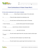 Form Contractions in Future Tense Part 3 - contractions - Fifth Grade