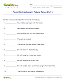 Form Contractions in Future Tense Part 1 - contractions - Third Grade