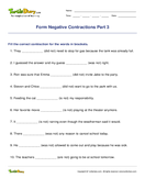 Form Negative Contractions Part 3 - contractions - Fifth Grade