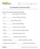 Form Negative Contractions Part 1 - contractions - Third Grade