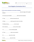 Form Negative Contractions Part 2 - contractions - Fourth Grade