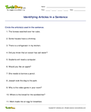 Identifying Articles In a Sentence - determiners - Third Grade