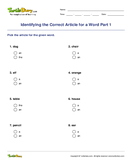 Identifying the Correct Article for a Word Part 1 - determiners - First Grade