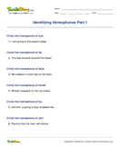 Identifying Homophones Part 1 - homonyms-homophones - First Grade