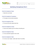 Identifying Homophones Part 3 - homonyms-homophones - Third Grade