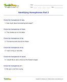 Identifying Homophones Part 2 - homonyms-homophones - Second Grade