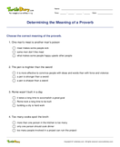 Determining the Meaning of a Proverb - idioms-proverbs - Fourth Grade