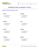 Identifying a Noun as Singular or Plural - noun - First Grade