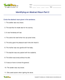 Identifying an Abstract Noun Part 2 - noun - Fourth Grade