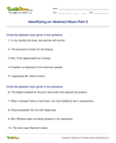 Identifying an Abstract Noun Part 3 - noun - Fifth Grade