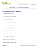 Identifying a Concrete Noun Part 2 - noun - Fourth Grade