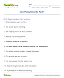 Identifying Gerunds Part 1 - noun - Fourth Grade
