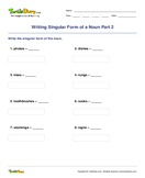 Writing Singular Form of a Noun Part 2 - noun - Fourth Grade