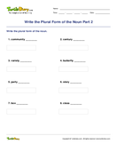 Write the Plural Form of the Noun Part 2 - noun - Fourth Grade