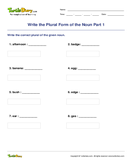Write the Plural Form of the Noun Part 1 - noun - Third Grade