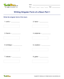 Writing Singular Form of a Noun Part 1 - noun - Third Grade