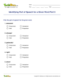 Identifying Part of Speech for a Given Word Part 3 - parts-of-speech - Fifth Grade