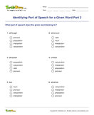 Identifying Part of Speech for a Given Word Part 2 - parts-of-speech - Fourth Grade