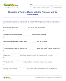 Choosing a Verb to Match with the Pronoun and Its Antecedent - pronoun - Fourth Grade